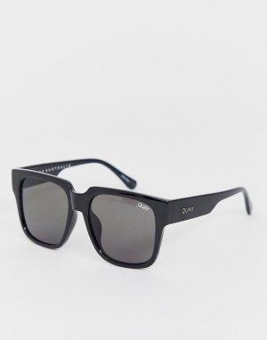 Черные крупные солнцезащитные очки в квадратной оправе -Черный Quay Australia