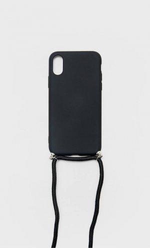 Чехол Для Iphone Xs Со Шнурком Женская Коллекция Черный 103 Stradivarius. Цвет: черный
