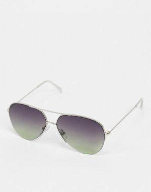 Солнцезащитные очки-авиаторы с фиолетовыми стеклами -Фиолетовый цвет River Island