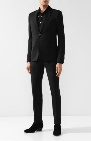 Шерстяной костюм с пиджаком на двух пуговицах Saint Laurent. Цвет: черный