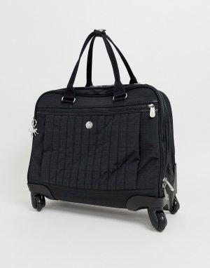 Черная сумка-чемодан с серебристой подвеской обезьянкой -Черный Kipling