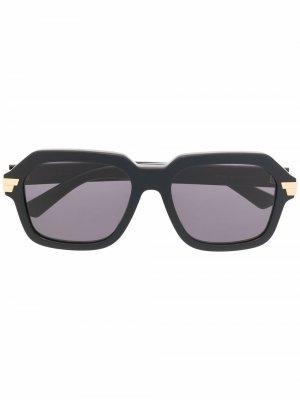 Солнцезащитные очки с логотипом Bottega Veneta Eyewear. Цвет: черный