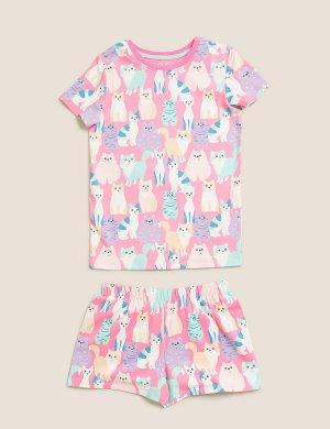 Хлопковая пижама с принтом Котики Marks & Spencer. Цвет: мульти