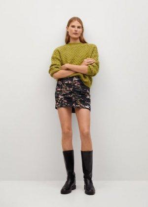 Мини-юбка с принтом и сборками - Lover Mango. Цвет: черный