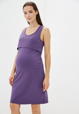 Сорочка ночная BeMyMom. Цвет: фиолетовый