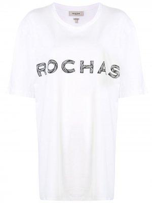 Футболка с логотипом Rochas. Цвет: белый