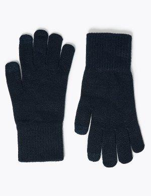 Супер мягкие вязаные перчатки M&S Collection. Цвет: темно-синий