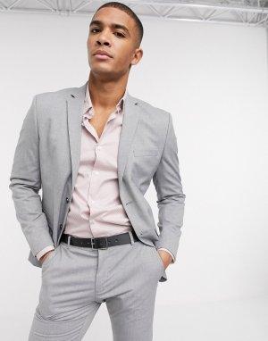 Светло-серый узкий эластичный пиджак Selected Homme