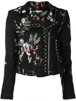 Твидовая байкерская куртка с цветочным принтом Liu Jo. Цвет: черный