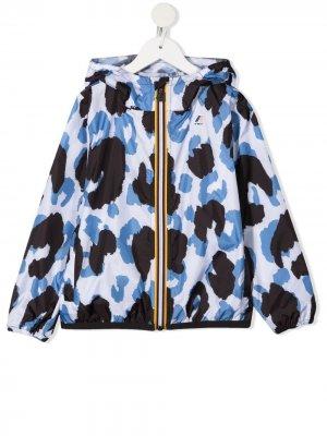 Куртка Le Vrai Claude с анималистичным принтом K Way Kids. Цвет: белый