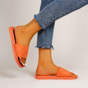 Стеганые тапочки SHEIN. Цвет: оранжевый