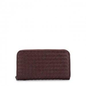Кожаное портмоне с плетением intrecciato Bottega Veneta. Цвет: красный