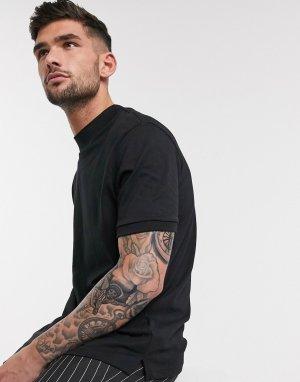 Темно-синяя футболка с высоким воротником -Черный Topman