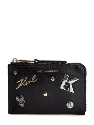 Визитница K/Karl Seven из гладкой кожи с литой символикой KARL LAGERFELD. Цвет: черный