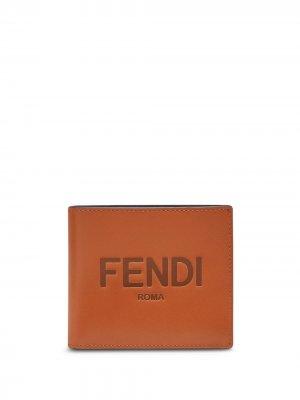 Бумажник с тисненым логотипом Fendi. Цвет: коричневый