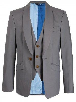 Шерстяной пиджак с многослойным эффектом Vivienne Westwood. Цвет: серый