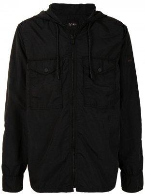 Куртка на молнии с капюшоном BOSS. Цвет: черный