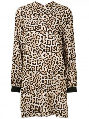 Платье мини с леопардовым принтом Atm Anthony Thomas Melillo. Цвет: коричневый