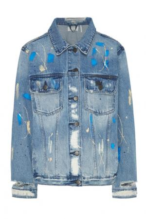 Голубая джинсовая куртка с эффектом поношенности One Teaspoon. Цвет: голубой