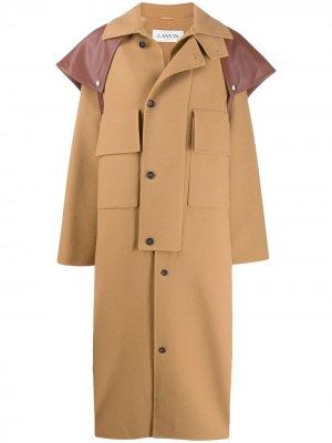Пальто оверсайз на пуговицах LANVIN. Цвет: коричневый
