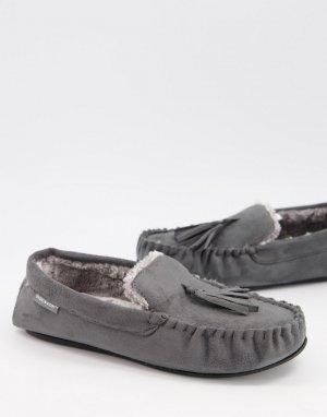 Серые слиперы с отделкой под мокасины на подкладке из искусственного меха -Серый Dunlop