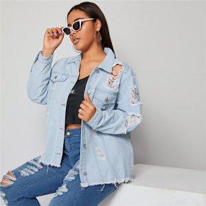 Рваная джинсовая куртка размера плюс SHEIN. Цвет: синий пастельный