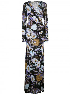 Платье макси с цветочным принтом Leonard. Цвет: черный