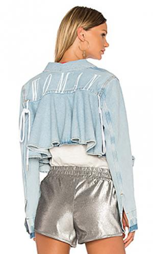 Джинсовая куртка с рюшами OFF-WHITE. Цвет: none