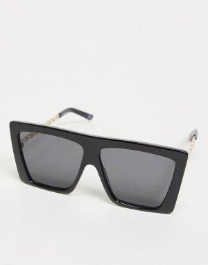Солнцезащитные очки с большими линзами в черной оправе из переработанных материалов металлическими дужками форме цепочки Recycled-Черный ASOS DESIGN