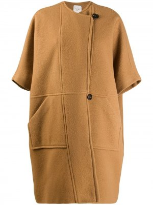 Пальто со смещенной застежкой на пуговицы Alysi. Цвет: коричневый