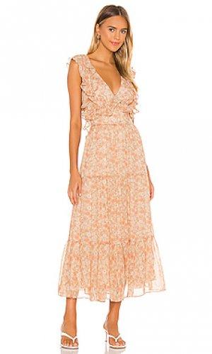 Платье миди simona Bardot. Цвет: румянец