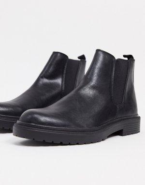 Черные массивные ботинки-челси -Черный Topman