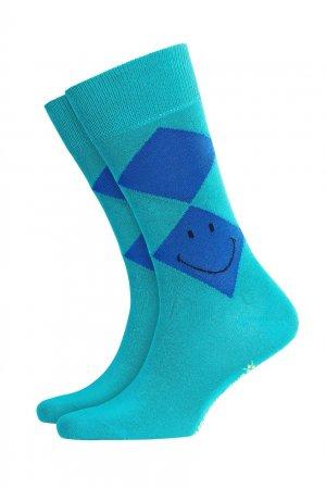 Бирюзовые носки Smiley Argyle из хлопка Burlington. Цвет: зеленый