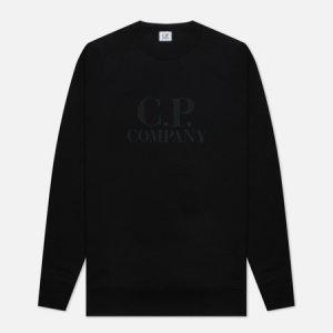 Мужская толстовка Diagonal Raised Fleece Logo Crew Neck C.P. Company. Цвет: чёрный