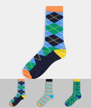 3 пары носков с принтом HS by -Зеленый Happy Socks