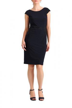 Трикотажное платье Apart. Цвет: темно-синий