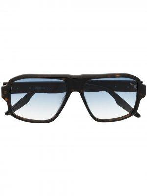 Солнцезащитные очки-авиаторы с эффектом градиента Puma. Цвет: черный