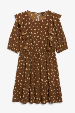 Мини-платье с оборками Monki. Цвет: коричневый, разноцветный
