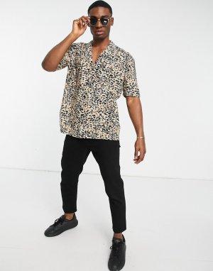 Светло-бежевая рубашка с короткими рукавами и леопардовым принтом -Нейтральный New Look