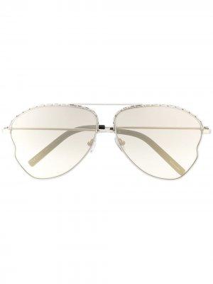 Декорированные солнцезащитные очки-авиаторы Matthew Williamson. Цвет: серебристый