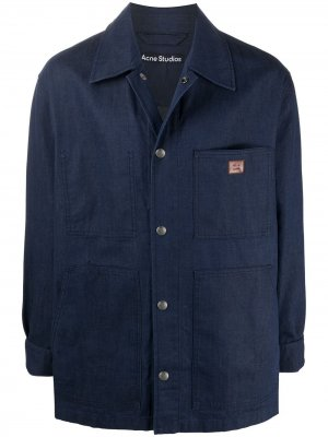 Джинсовая куртка-рубашка оверсайз Acne Studios. Цвет: синий