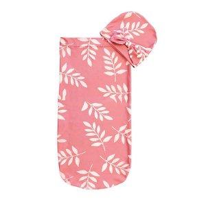 Детский Спальный мешок с растительным принтом шапкой SHEIN. Цвет: розовые