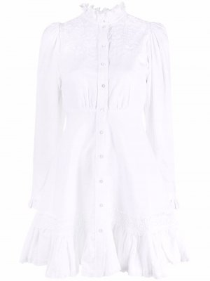 Платье с оборками и вышивкой byTiMo. Цвет: белый