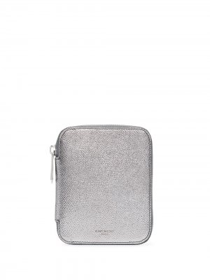Кошелек с круговой молнией и эффектом металлик Givenchy. Цвет: серебристый