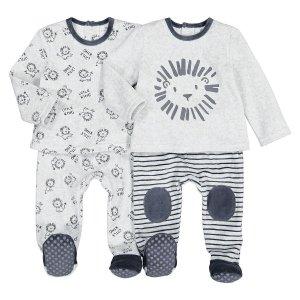 Комплект из 2 раздельных пижам LaRedoute. Цвет: серый