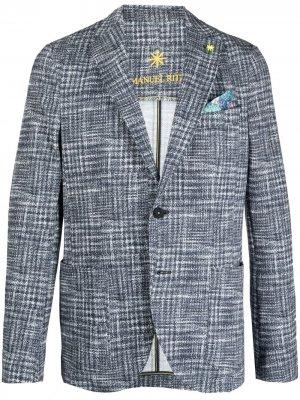 Однобортный пиджак в клетку Manuel Ritz. Цвет: синий