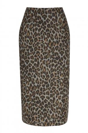 Леопардовая хлопковая юбка Alexandr Rogov. Цвет: коричневый