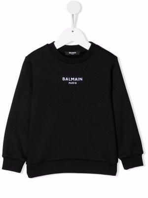 Logo-embroidered sweatshirt Balmain Kids. Цвет: черный