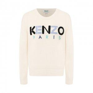 Хлопковый свитер Kenzo. Цвет: бежевый
