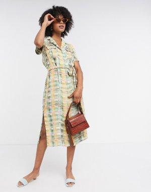 Пастельное платье миди в клетку на пуговицах с поясом -Многоцветный Glamorous